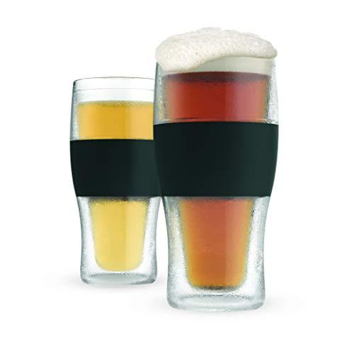 Host Freeze Beer Glasses, Freezer Gel Chiller Double Wall Plastic Frozen Pint Glass, Set of 2, 16 oz, Black