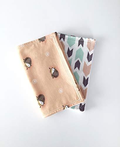 (Handmade Trendy Gender Neutral Hedgehogs & Arrows Cotton & Terry Baby Burp Cloths Set Burp Rags Set Baby Girl GIft Set Baby Boy burp Cloths Gift Set)