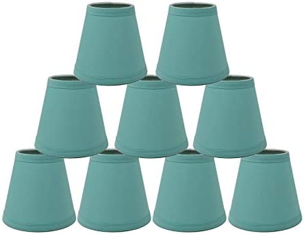 Urbanest Set of 9 3-inch by 5-inch by 4 1 2-inch Cotton Chandelier Shade, Clip-on, Turquoise