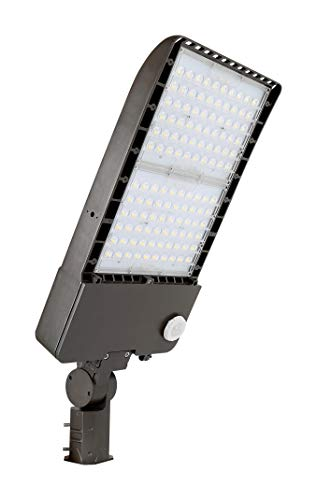 - 300W LED Area Flood Light, Parking Lot Lighting, Replace 1000W Metal Halide Shoebox Fixture, 120-277V, 5000K Daylight White, Dimmable, Type 3, Slipfitter Mount, Dark Bronze, 10-Year Warranty