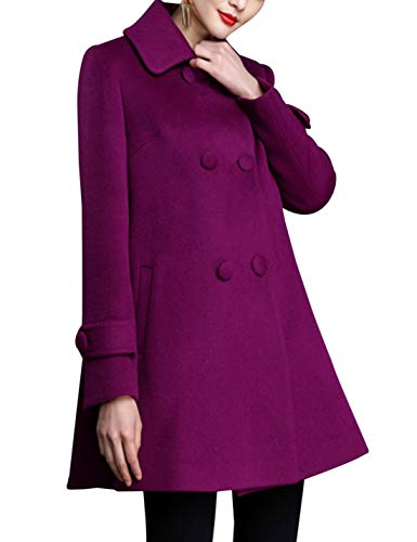Women's Loose Wool Coat Double Breasted Swing Pea Coat(Purple, L) ()