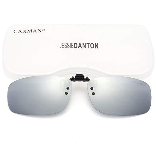 CAXMAN Polarized Clip On Sunglasses Over Prescription Glasses for Men Women UV Protection Flip Up Silver Mirrored Lens Small ()