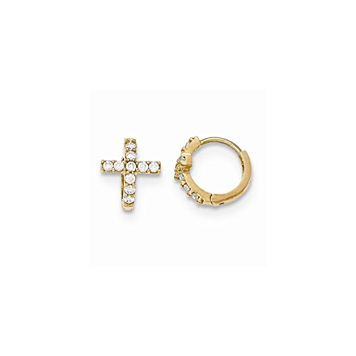 Roy Rose Jewelry 14K Yellow Gold Madi K Polished CZ Cross Hinged Hoop Earrings by Roy Rose Jewelry