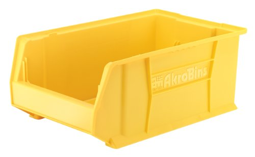 Akro-Mils 30281 20-Inch D by 12-Inch W by 8-Inch H Super Size Plastic Stacking Storage Akro Bin, Yellow, Case of 3