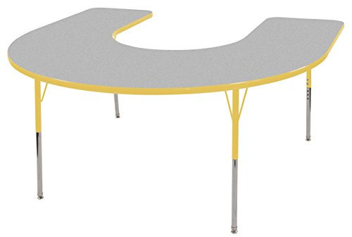 ECR4Kids Thermo-fused 60'' x 66'' Horseshoe School Activity Table, Standard Legs w/ Swivel Glides, Adjustable Height 19-30 inch (Grey/Yellow) by ECR4Kids