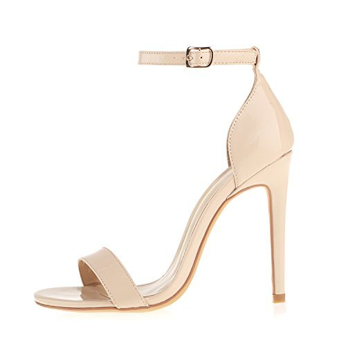 Women's Heeled Sandals Buckled Ankle Strap Dress Sandals Stilettos Open Toe High Heel for Wedding Party Evening Shoes Patent Leather Nude Size 6
