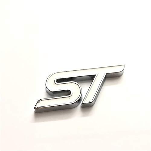White trunk sticker 10X Metal 3D Car Styling ST Front Grille Sticker Car Emblem Chrome Sticker - (color Name  Black Grill Sticker)