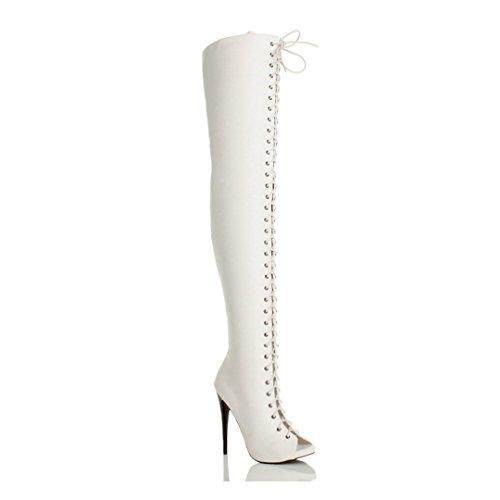 ginocchio stivali Opaco Donna alto aperta taglia tacco punta sopra Bianco il coscia stringhe 6AB0qxO