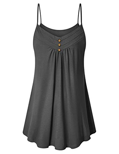(Viracy Camisole for Women, Ladies Night Out Tops Knitted Spaghetti Strap Tunic Tank Fashion Formal Shirt Sleeveless Fitted Layered Cami Ruffle Flowy Comfort Tees Business Career Wear Grey XL)