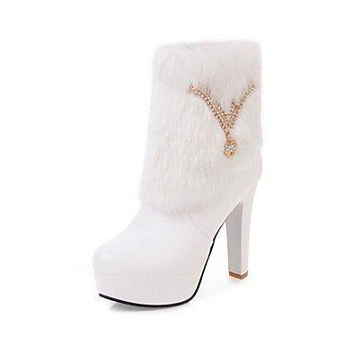 RTRY Zapatos De Mujer Polipiel Moda Invierno Botas Botas Chunky Talón Puntera Redonda Botines/Botines Rhinestone Para Vestimenta Casual Rubor Rosa US8 / EU39 / UK6 / CN39