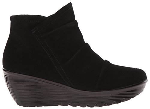 Skechers Women's Parallel-Triple Threat Ankle Bootie,Black Suede,10 M US