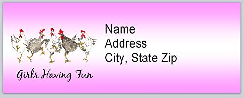 Chicken Labels Address - 120 Personalized Return Address Labels Primitive Country Chickens