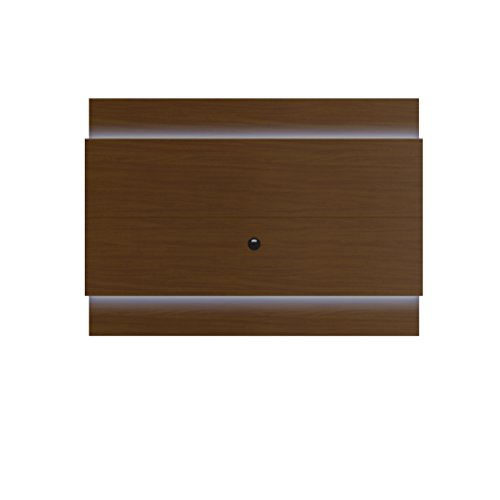 Manhattan Comfort Lincoln Floating Wall TV Panel 1.9 Collection Entertainment Center with TV Mount and LED Lights, Nut Brown