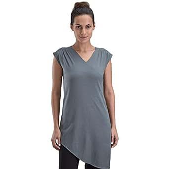 Proyog Grey Cotton V Neck Wrap Top For Women