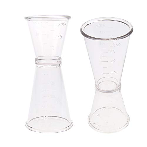 D DOLITY 2 PCS Double Jigger Cocktail Wine Shot Drink Measuring Cup, 0-20cc/ 0-40cc(ml) (Ounce 0.75 Wine)