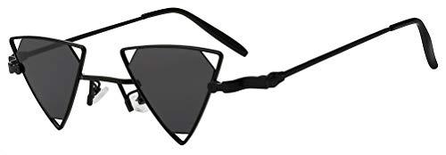 Triangle Butterfly Vintage Smoke Lens Sunglasses Black Metal Frame Men Women