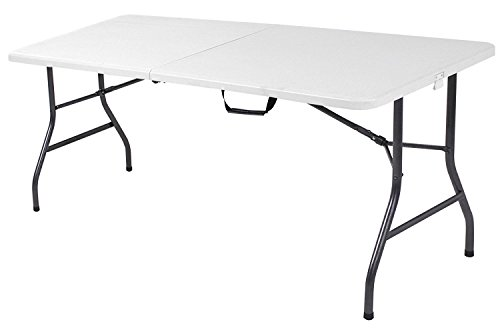 6 Foot Plastic Folding Table – Folds in Half with Carrying Handle Rectangular – Lightweight and Portable – White Resin with Sturdy Steel Frame – by Ontario Furniture