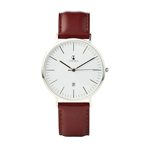 (Croneus Mens Luxury Stainless Steel Watch with Genuine Leather Strap | Stylish Fashion Analog Wristwatch Water Resistant Classic Sapphire Glass Rounded 41mm Face | Japanese Miyota Movement Made)