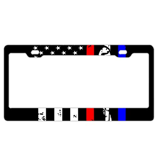 Christopher Macadam Police&Firefighter&EMT Flag License Plate Frames, Alumina Car Licence Plate Decor Covers (Fire Police License Plate)