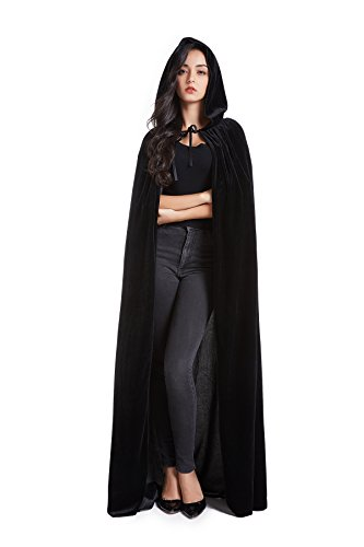 Crizcape Unisex Halloween Costume Cape Hooded Velvet Cloak for Men and Womens Black]()