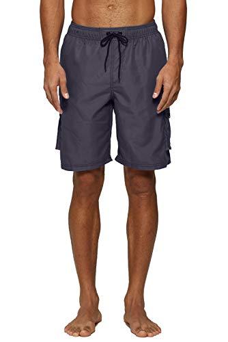 ELF QUEEN Dark Grey Swim Trunks for Men Surf Shorts Beachwear Drawstring Waist Swimwear X-Large