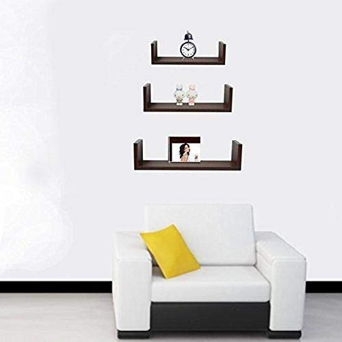 Decorations Cart 3 U Shaped Wall Shelves Book Shelf For Living Room Decor Home Decoration Brown Amazon In Home Kitchen