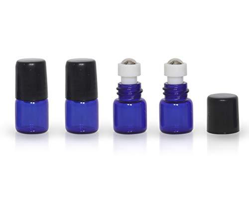 20 Pack Set 1ML Mini Cobalt Blue Sample Roll Glass Bottles for Essential Oils Roller Refillable Perfume Roll Bottle