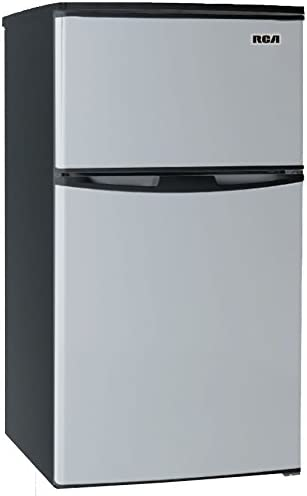 Renewed 3.2 Cubc Foot 2 Door Fridge and Freezer Stainless Steel