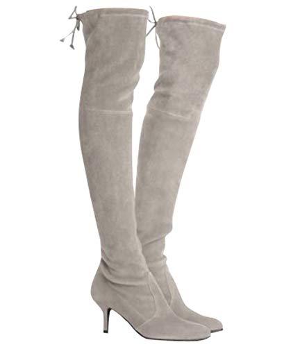 Stuart Weitzman Women's Solid Tiemodel Taupe Suede Over-The-Knee Boot (US 9.5, Taupe)