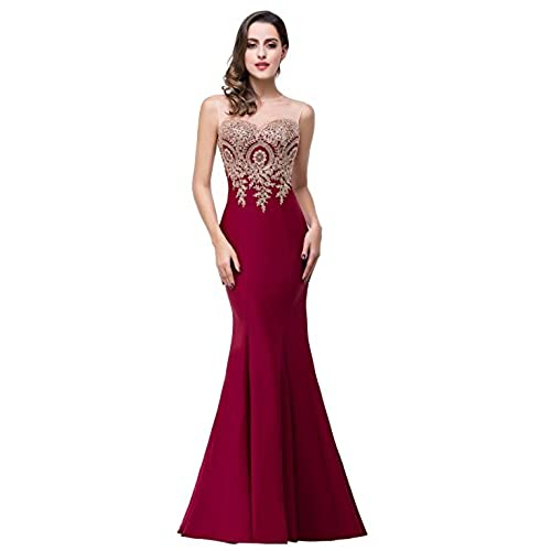 MisShow Mermaid Prom Dress for Women Formal Long Evening Dress, Burgundy US 8
