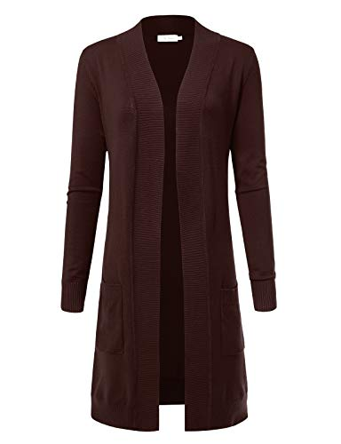 Women's Solid Soft Stretch Longline Long Sleeve Open Front Cardigan M Brown