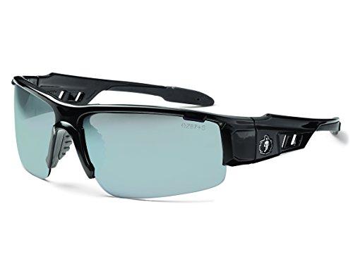 Ergodyne Skullerz Dagr Safety Sunglasses - Black Frame, Silver Mirror Lens