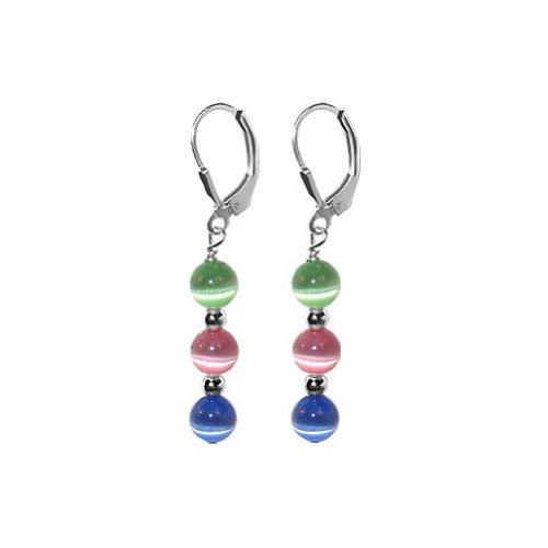 Cat Sterling Silver Key Ring - Gem Avenue 925 Sterling Silver Multicolor Cat Eye Leverback Drop 1.25 Inch Earrings