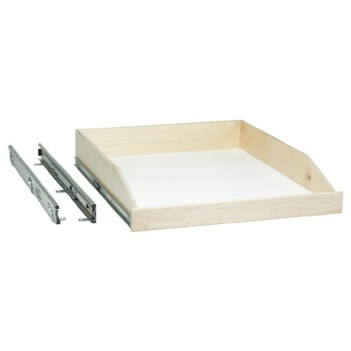 "Slide-A-Shelf SAS-FE-L-M, Made-To-Fit Slide-out Shelf, Full Extension, 6"" to 36"" wide and 16 3/4"" to 24"" deep, Ready-to-finish Maple Fronts"