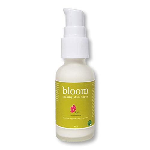 Organic Natural Eye Serum with Aloe, Vitamins A and E. For Dark Circles and Wrinkles. Enriched with Anti-Aging Essential Oils. No Sulfates, Luminous Peptide Eye Serum by Bloom Making Skin Happy