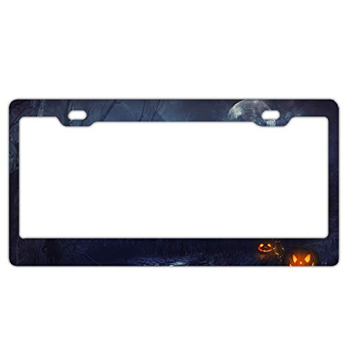 KSLIDS Car License Plate Frame,Halloween Spooky Castle Alumina License Plate Covers]()