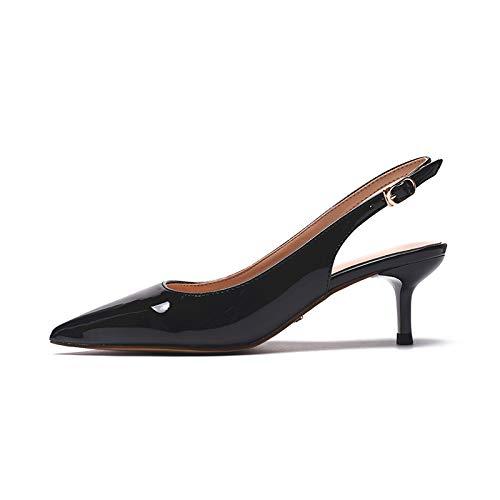 GTVERNH Damenschuhe Mode Dem Nach Dem Mode Leeren Schuhe Im Sommer mit Einfachen Lack Dünn und Spitz Hochhackige Schuhe Schwarze Profi - Schuhe. 12c242