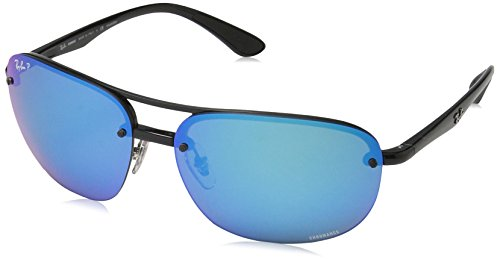 Ray-Ban RB4275CH Chromance Lens Square Sunglasses, Black Frame/Blue Mirror Lens - Ray Polarized Chromance Ban