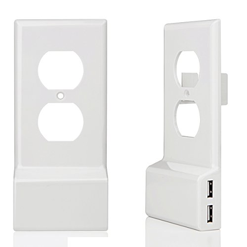 USB Charger Outlet Wall Plate Cover,Upgrade Version Snap On Power Wall Outlet Cover Plate Replacement With 2 USB Charging,3Amp-No Batteries Or Wires-Install In Seconds- Duplex,White,2 Pack