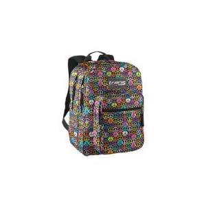 Jansport Trans Supermax Black Multi Hippy Hand Backpack Book Bag School bag