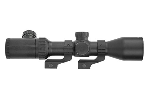 Monstrum 3-12x42 AO Rifle Scope with Illuminated Mil-Dot Reticle and Offset Reversible Scope Rings | Black