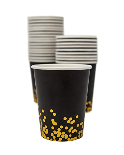 Party Chic Black and Gold Dot Disposable 9 Ounce Gold Foil Cup Pack of 50 for Party Wedding Elegant Fancy Decorations Holiday Anniversary Birthday Supplies Bachelorette Bachelor Baby Shower