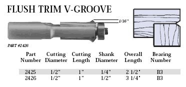 Flush Trim V-groove Router Bit - Whiteside Router Bits 2426 Flush Trim V-Groove Bit with 1/2-Inch Cutting Diameter and 1-Inch Cutting Length