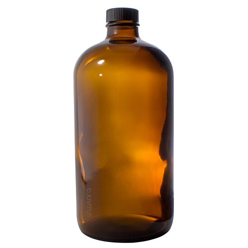 Amber 32 oz Thick Plated Glass Growler Apothecary Bottle + Label for Kombucha, Brewing, Juicing