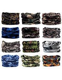 Neck Gaiter, 6PCS/ 9PCS Sport Headwear Face Bandana Mask Elastic UV Resistence Magic Headband for Men and Women (12PCS-Camouflage-4)