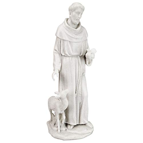 - Design Toscano Francis of Assisi, Patron Saint of Animals Marble Resin Statue, 11.5 Inches, White