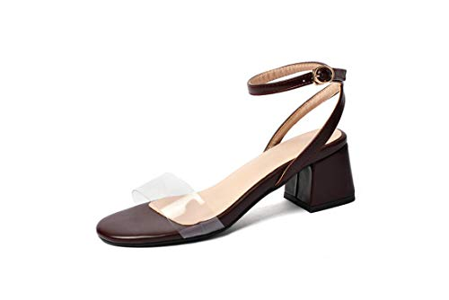 Women Sandals PU Leather Transparent Round Open-Toed Buckle Square,Wine Red,4
