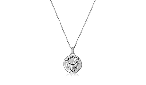 Sterling Silver Antiqued Taurus Pendant