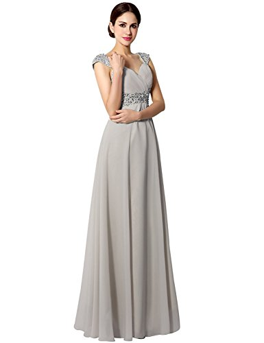 Sarahbridal Women's Prom Dresses Long Beading Chiffon Bridal Gowns for Wedding 2019 Gray US4