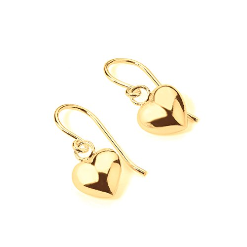 - 925 Sterling Silver Shiny French Wire Dangling Puffed Heart Earrings Yellow Gold Flashed